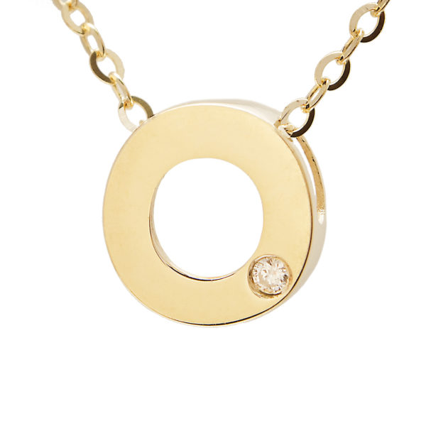 "Yellow Gold Initial Round Bezel Diamond Necklace (14k Yg Initial O W/ Diamond And Chain (16+2""))"