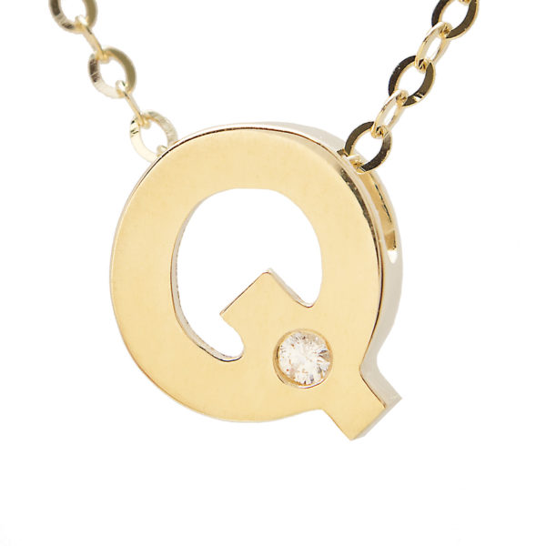 "Yellow Gold Initial Round Bezel Diamond Necklace (14k Yg Initial Q W/ Diamond And Chain (16+2""))"