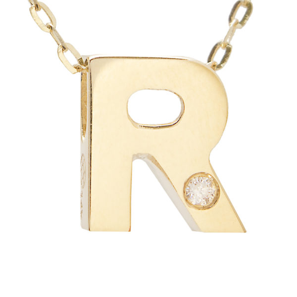 "Yellow Gold Initial Round Bezel Diamond Necklace (14k Yg Initial R W/ Diamond And Chain (16+2""))"
