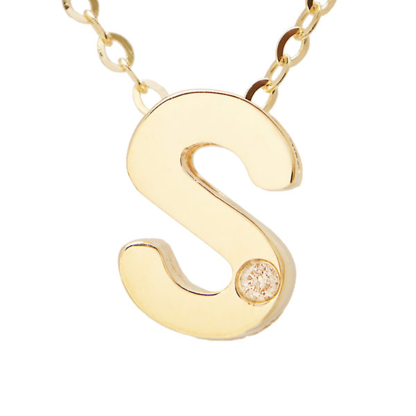 "Yellow Gold Initial Round Bezel Diamond Necklace (14k Yg Initial S W/ Diamond And Chain (16+2""))"