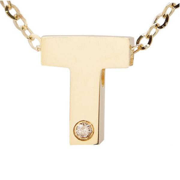 "Yellow Gold Initial Round Bezel Diamond Necklace (14k Yg Initial T W/ Diamond And Chain (16+2""))"