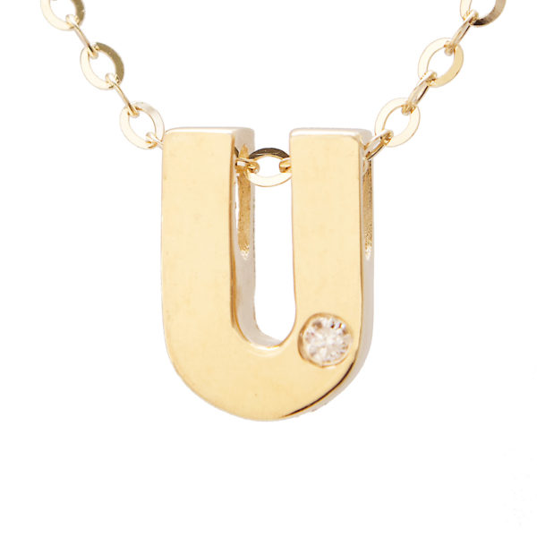 "Yellow Gold Initial Round Bezel Diamond Necklace (14k Yg Initial U W/ Diamond And Chain (16+2""))"