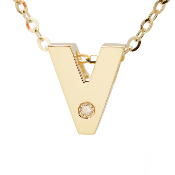"Yellow Gold Initial Round Bezel Diamond Necklace (14k Yg Initial V W/ Diamond And Chain (16+2""))"