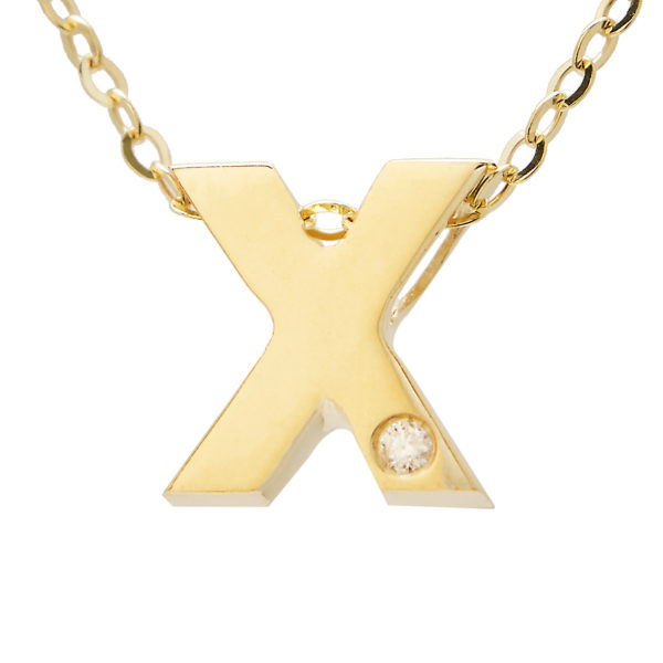 "Yellow Gold Initial Round Bezel Diamond Necklace (14k Yg Initial X W/ Diamond And Chain (16+2""))"