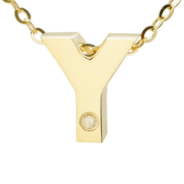 "Yellow Gold Initial Round Bezel Diamond Necklace (14k Yg Initial Y W/ Diamond And Chain (16+2""))"