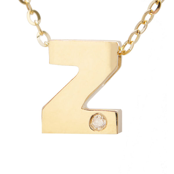 "Yellow Gold Initial Round Bezel Diamond Necklace (14k Yg Initial Z W/ Diamond And Chain (16+2""))"
