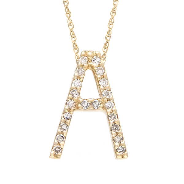 "Yellow Gold Letter Single Micro Pave Diamond Necklace (Diamond ""a"" (Yg/With Chain) Initial)"