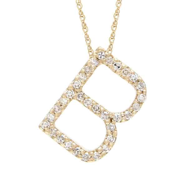 "Yellow Gold Letter Single Micro Pave Diamond Necklace (Diamond ""b"" (Yg/With Chain) Initial)"