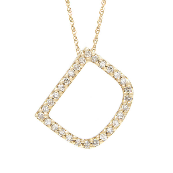 "Yellow Gold Letter Single Micro Pave Diamond Necklace (Diamond ""d"" (Yg/With Chain) Initial)"