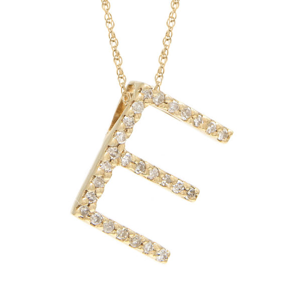 "Yellow Gold Letter Single Micro Pave Diamond Necklace (Diamond ""e"" (Yg/With Chain) Initial)"
