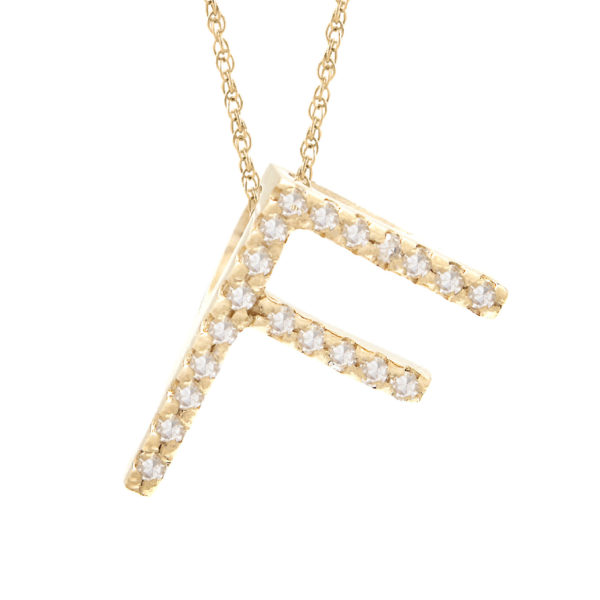 "Yellow Gold Letter Single Micro Pave Diamond Necklace (Diamond ""f"" (Yg/With Chain) Initial)"
