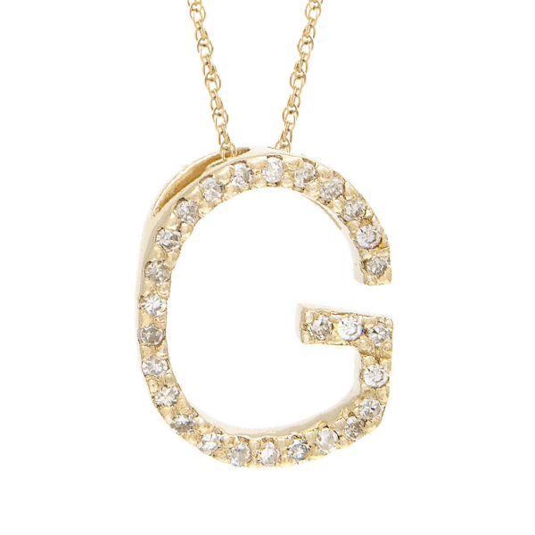 "Yellow Gold Letter Single Micro Pave Diamond Necklace (Diamond ""g"" (Yg/With Chain) Initial)"