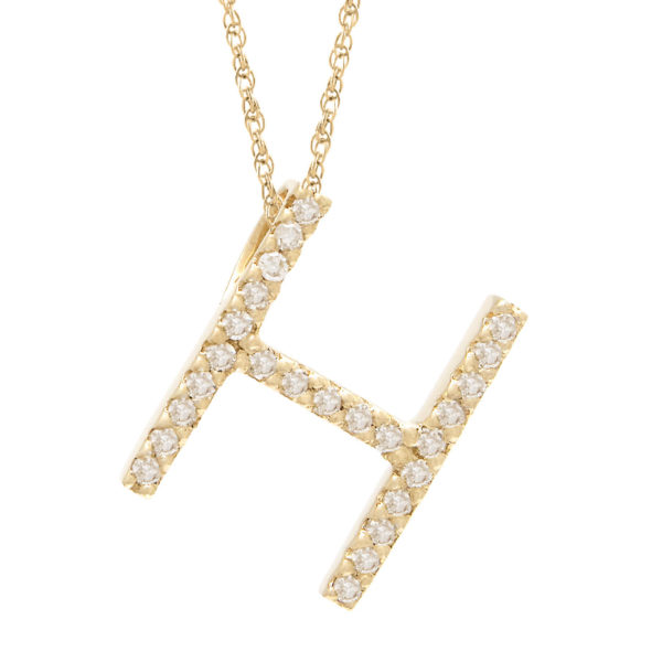 "Yellow Gold Letter Single Micro Pave Diamond Necklace (Diamond ""h"" (Yg/With Chain) Initial)"