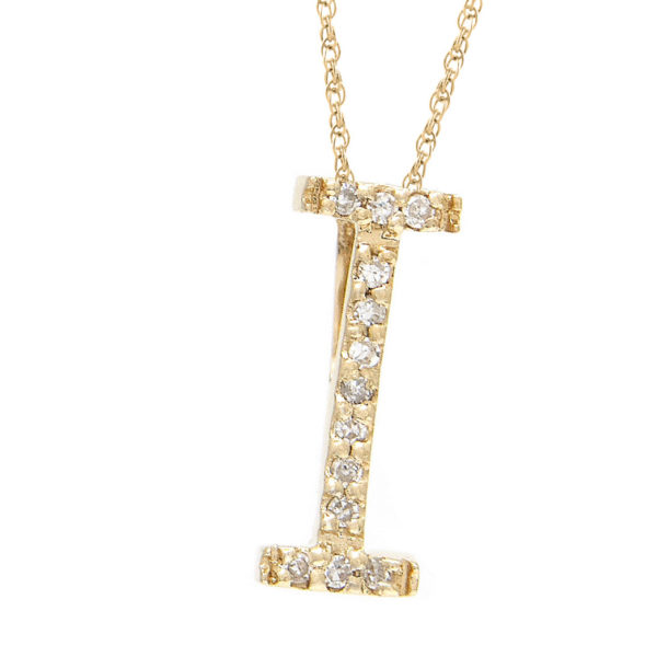 "Yellow Gold Letter Single Micro Pave Diamond Necklace (Diamond ""i"" (Yg/With Chain) Initial)"
