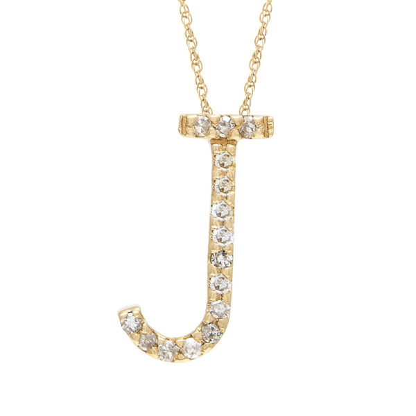 "Yellow Gold Letter Single Micro Pave Diamond Necklace (Diamond ""j"" (Yg/With Chain) Initial)"