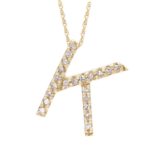 "Yellow Gold Letter Single Micro Pave Diamond Necklace (Diamond ""k"" (Yg/With Chain) Initial)"