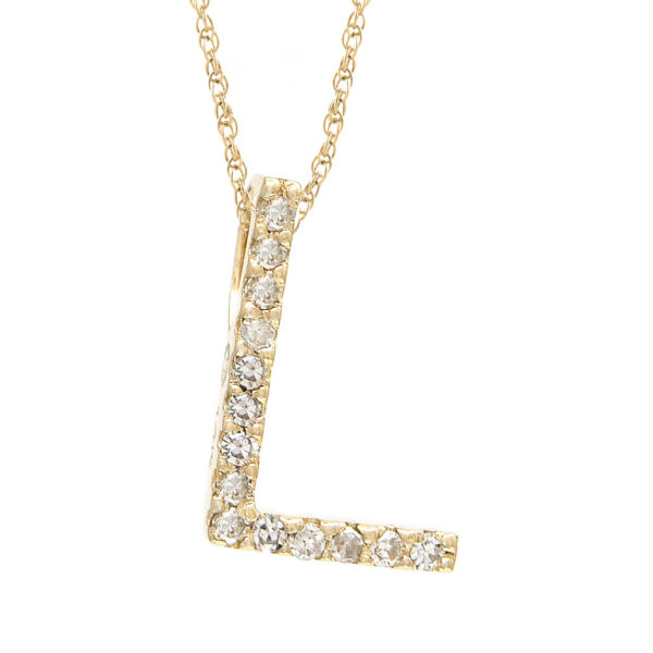"Yellow Gold Letter Single Micro Pave Diamond Necklace (Diamond ""l"" (Yg/With Chain) Initial)"