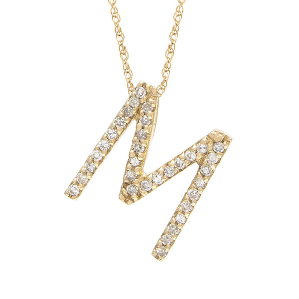 "Yellow Gold Letter Single Micro Pave Diamond Necklace (Diamond ""m"" (Yg/With Chain) Initial)"