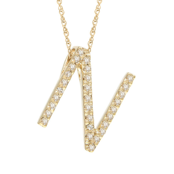"Yellow Gold Letter Single Micro Pave Diamond Necklace (Diamond ""n"" (Yg/With Chain) Initial)"