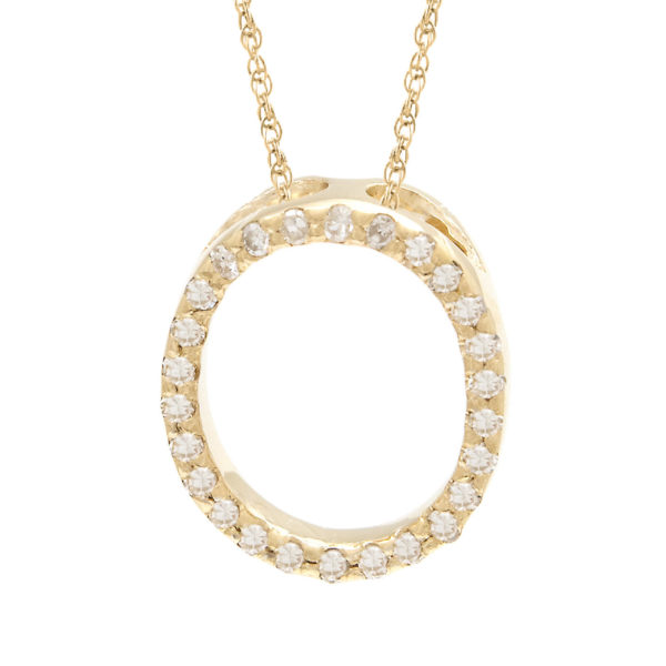 "Yellow Gold Letter Single Micro Pave Diamond Necklace (Diamond ""o"" (Yg/With Chain) Initial)"