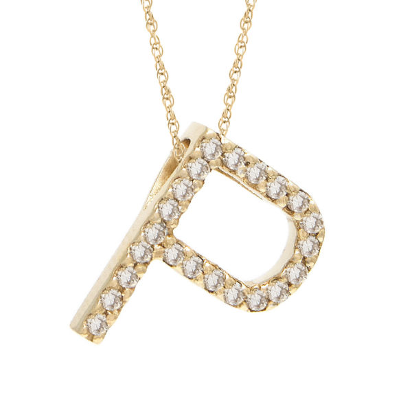 "Yellow Gold Letter Single Micro Pave Diamond Necklace (Diamond ""p"" (Yg/With Chain) Initial)"