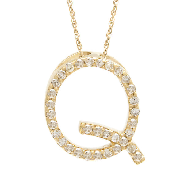 "Yellow Gold Letter Single Micro Pave Diamond Necklace (Diamond ""q"" (Yg/With Chain) Initial)"