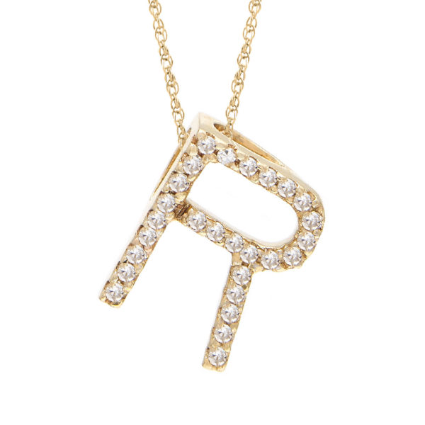 "Yellow Gold Letter Single Micro Pave Diamond Necklace (Diamond ""r"" (Yg/With Chain) Initial)"