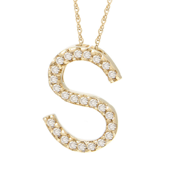 "Yellow Gold Letter Single Micro Pave Diamond Necklace (Diamond ""s"" (Yg/With Chain) Initial)"