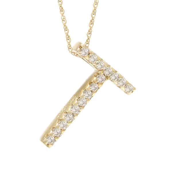 "Yellow Gold Letter Single Micro Pave Diamond Necklace (Diamond ""t"" (Yg/With Chain) Initial)"
