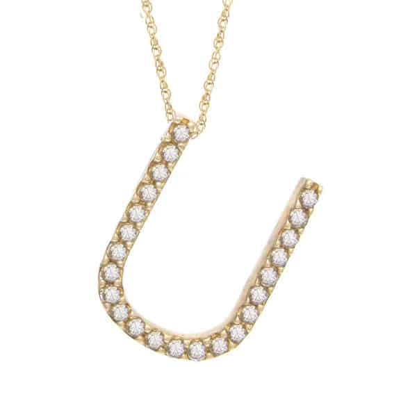 "Yellow Gold Letter Single Micro Pave Diamond Necklace (Diamond ""u"" (Yg/With Chain) Initial)"