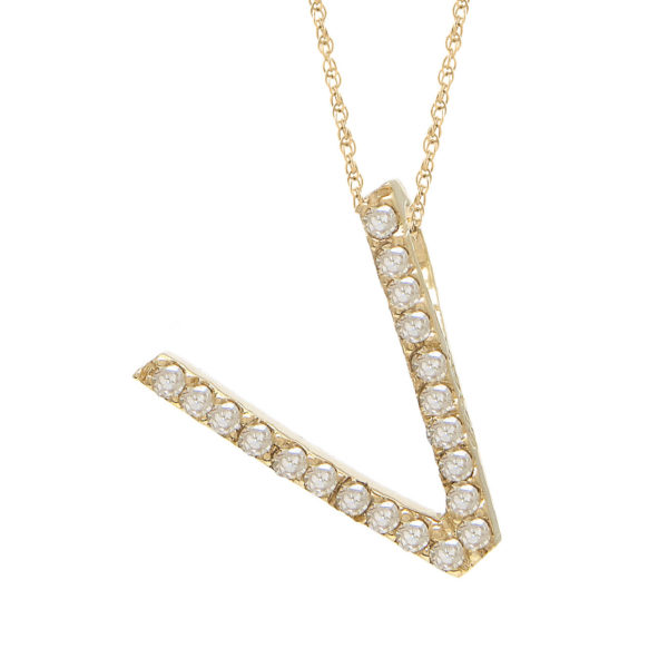 "Yellow Gold Letter Single Micro Pave Diamond Necklace (Diamond ""v"" (Yg/With Chain) Initial)"