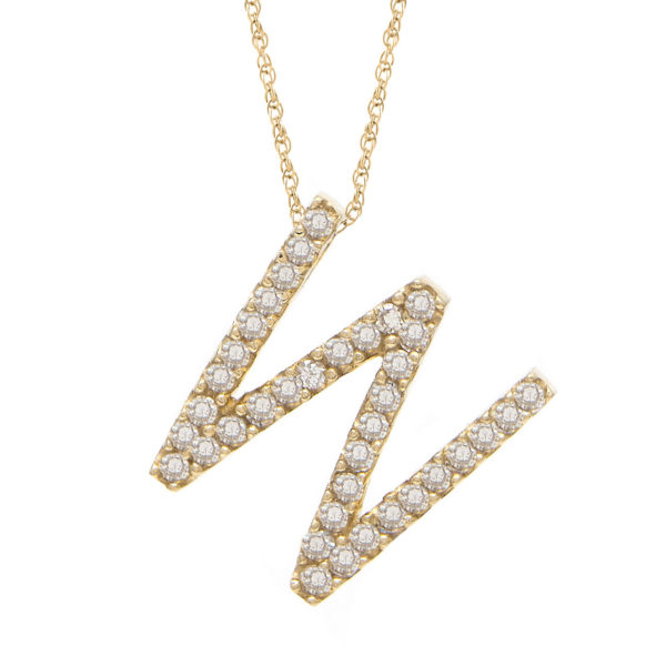 "Yellow Gold Letter Single Micro Pave Diamond Necklace (Diamond ""w"" (Yg/With Chain) Initial)"