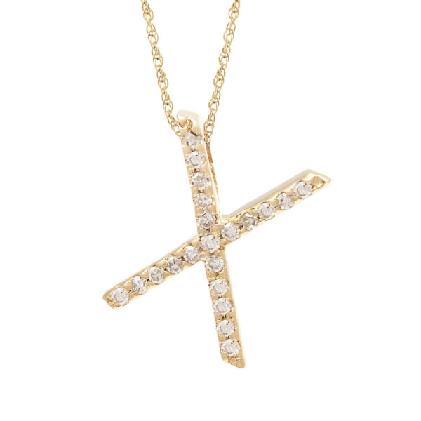 "Yellow Gold Letter Single Micro Pave Diamond Necklace (Diamond ""y"" (Yg/With Chain) Initial)"