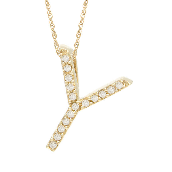 "Yellow Gold Letter Single Micro Pave Diamond Necklace (Diamond ""x"" (Yg/With Chain) Initial)"