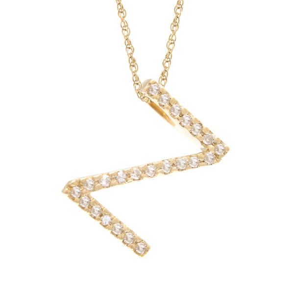 "Yellow Gold Letter Single Micro Pave Diamond Necklace (Diamond ""z"" (Yg/With Chain) Initial)"