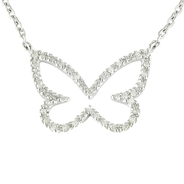 "Sterling Silver Butterfly Single Micro Pave Diamond Necklace (Silver Daimond Necklace (16+2"") Butterfly)"