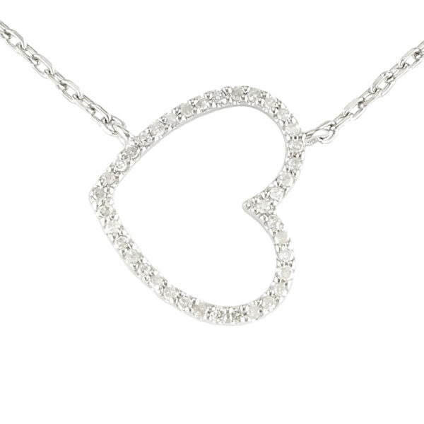 "Sterling Silver Heart Single Prong Diamond Necklace (Silver Diamond Sideways Heart Necklace (16""+2""))"