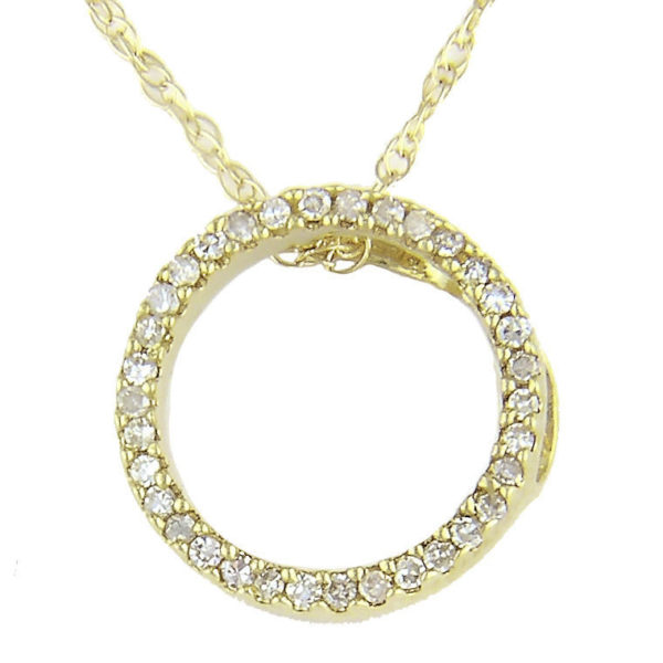 Yellow Gold Circle Single Prong Diamond Necklace (Small Diamond Circle (Yg/With Chain))