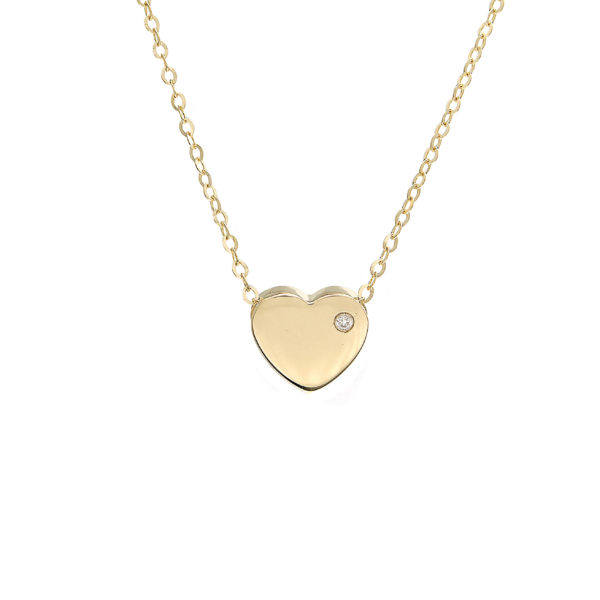 "Yellow Gold Heart Round Bezel Gold Necklace (14k Yg Gold Heart W/ Diamond With 16+2"" Chain)"