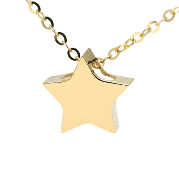 "Yellow Gold Star Gold Necklace (14k Yellow Gold Star With 16+2"" Chain)"