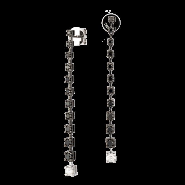 18kt white gold / white & black diamond earrings