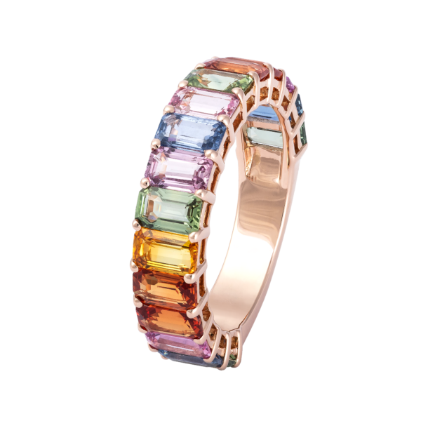 18kt rose gold multi color sapphire ring