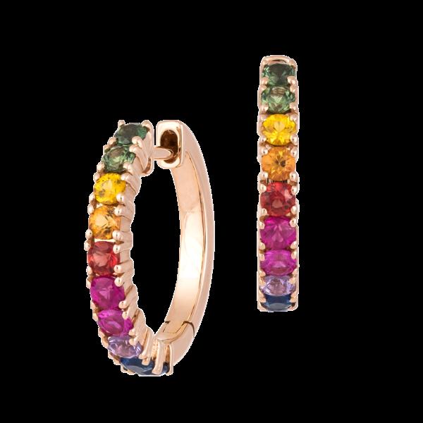 18kt rose gold multi color sapphire earrings