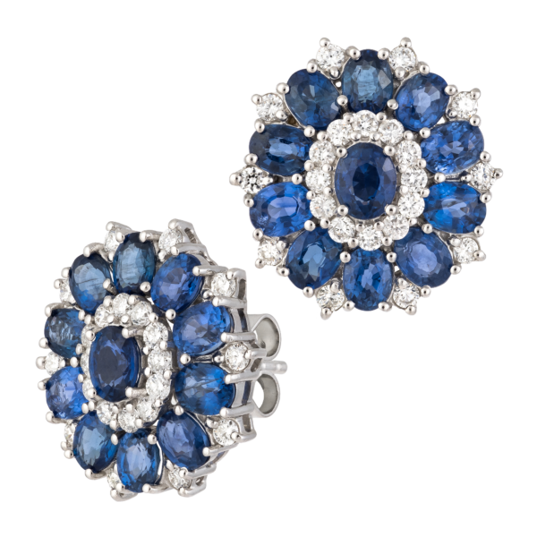 18kt white gold with diamond & sapphire earrings