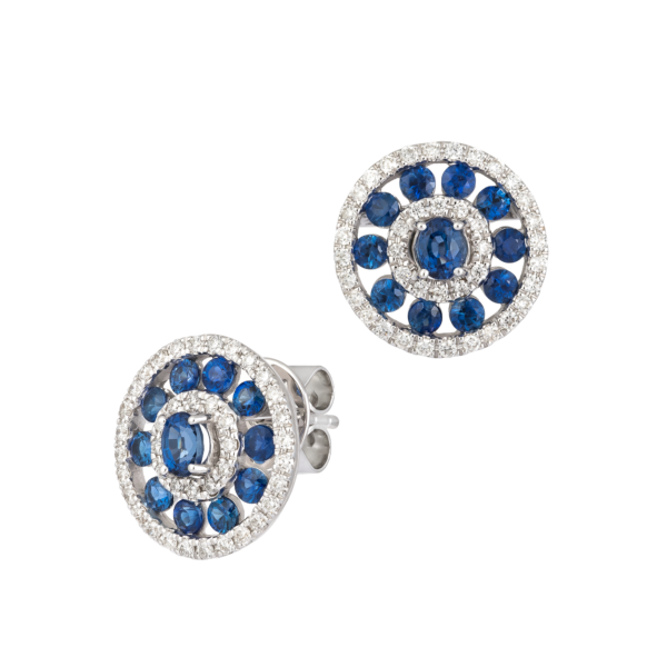 18kt whitw gold with diamond & sapphire earrings