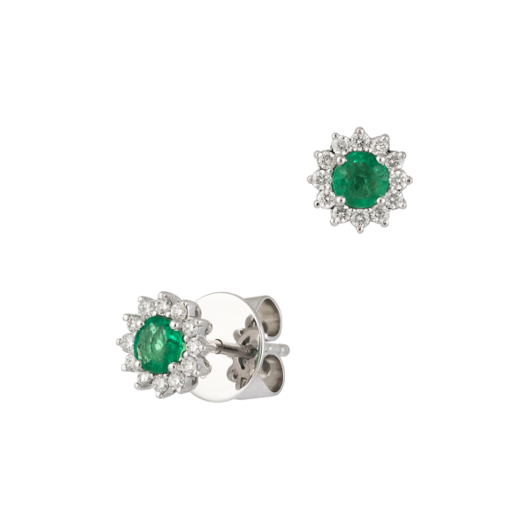 18kt white gold with diamond and emeralds