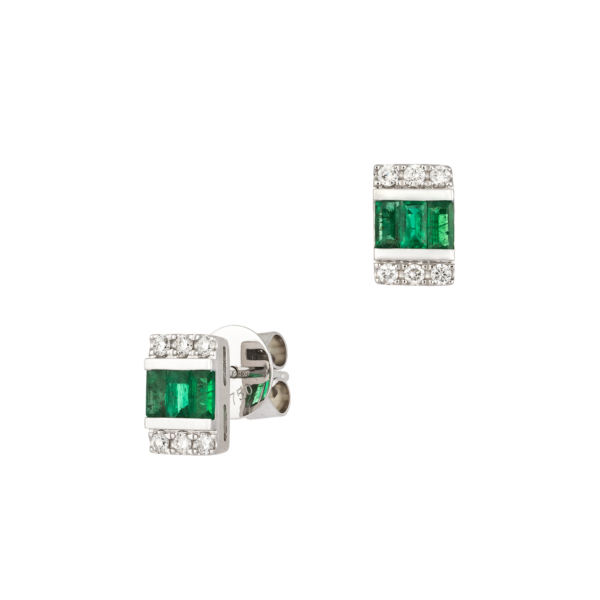 18kt white gold with diamond & emerald