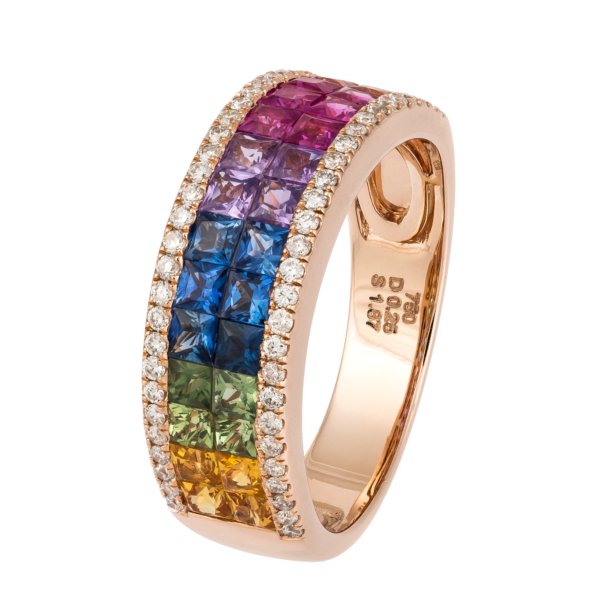 18kt rose gold multi color sapphire with white diamond ring