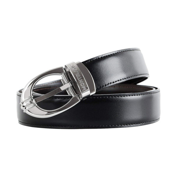 106148 — Montblanc Belt 3Rings Oval Pall Shi Pin Bk/Br 30
