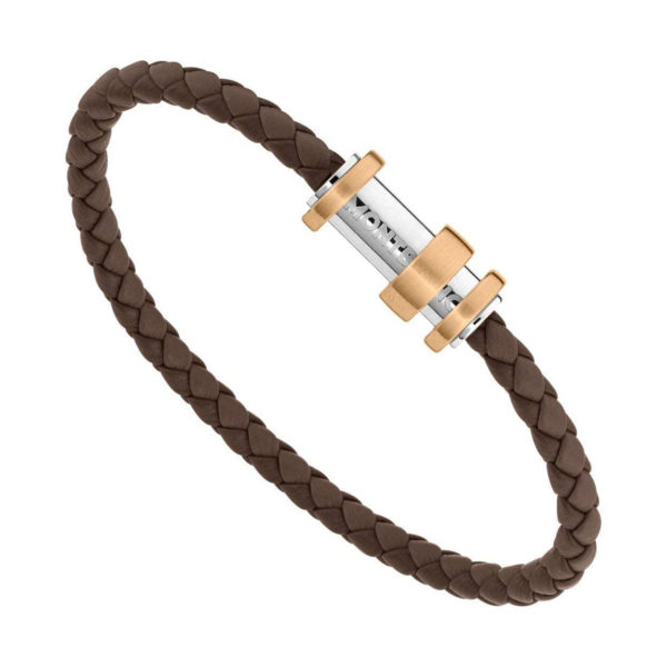 11855868 — Montblanc Bracelet, Leather Brown 3-Rgs Bronze, 68